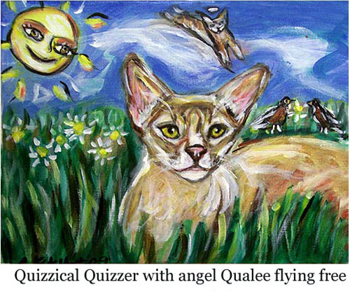 Quizzical Quizzer with angel Qualee flying free
