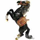 Standing Black Horse Bejeweled Trinket Box