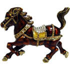 Pony Enameled Bejeweled Trinket Box