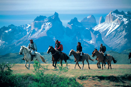 People riding horses in Patagonia