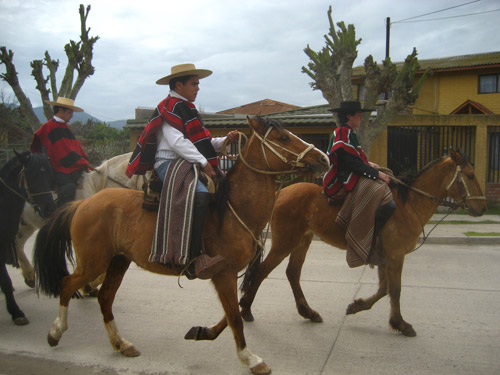 Men riding horses down a paved street