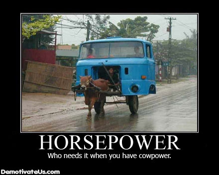 Horsepower. Who needs it when you have cowpower?