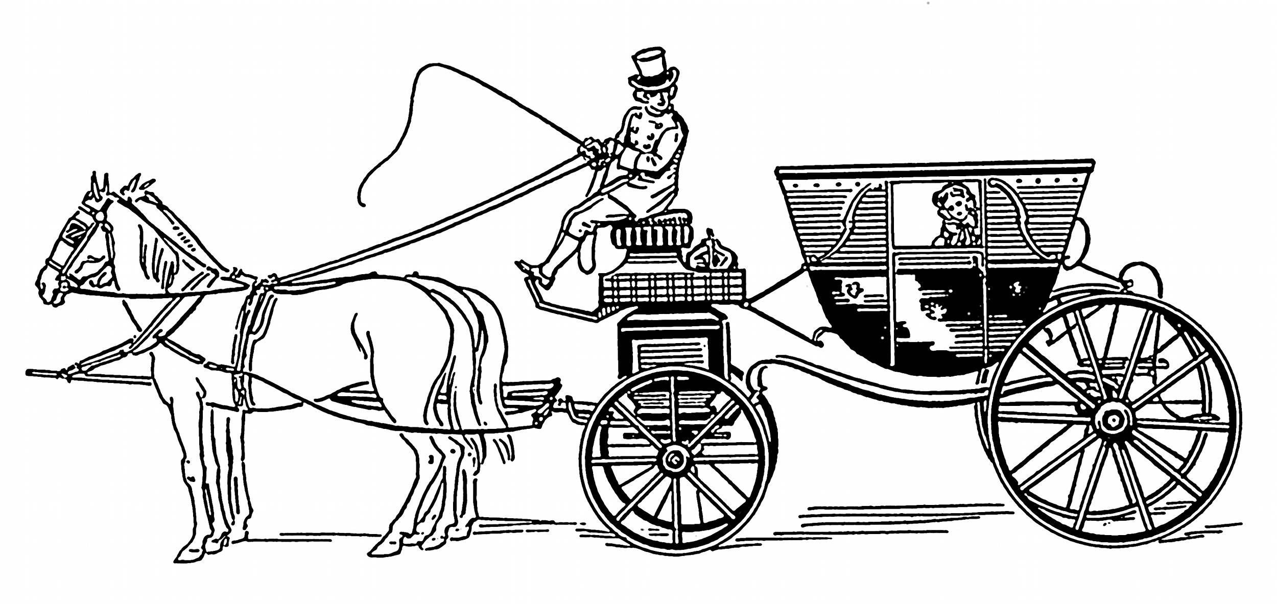 Victorian Horse Carriage Drawing