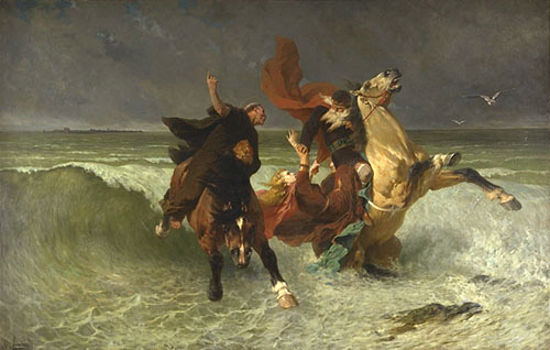 The king's flight Gradlon by Evariste-Vital Luminais