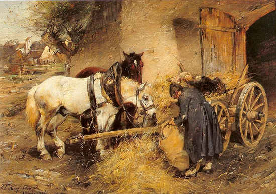 Farmer Feeding His Horses