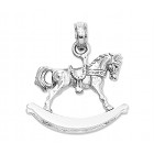 3D White Gold Rocking Horse Charm