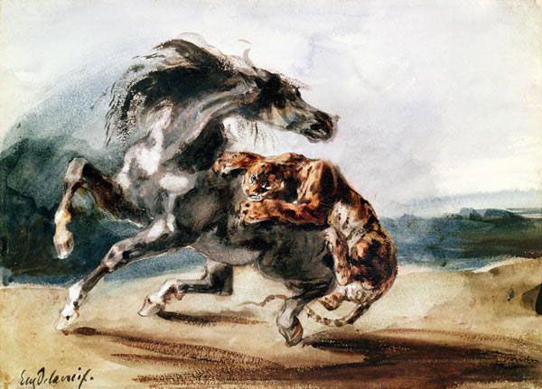 Tiger Attacking a Wild Horse