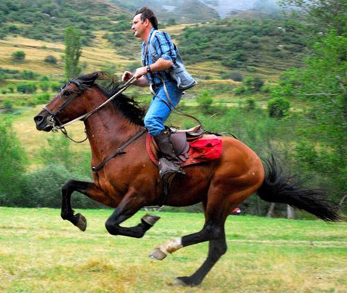 Man riding galloping horse