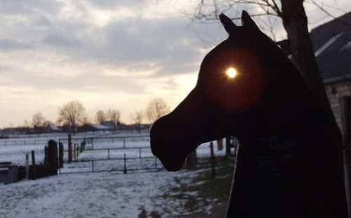 Horse statue with glowing eye