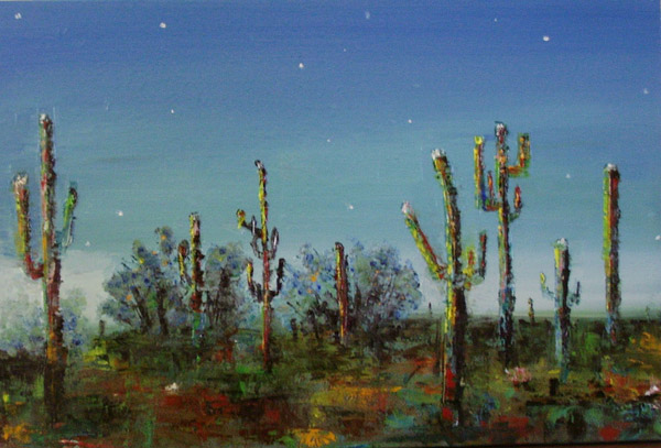 Saguaro desert in oil