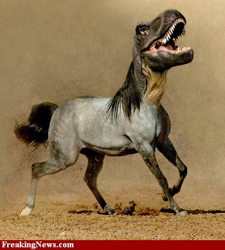 Photoshopped horse-dinosaur