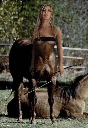 Photoshopped woman centaur