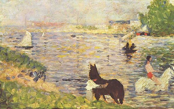 White & Black Horse in the River - Georges Seurat