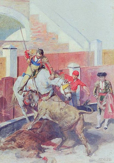Picador with Bull and Monosabio