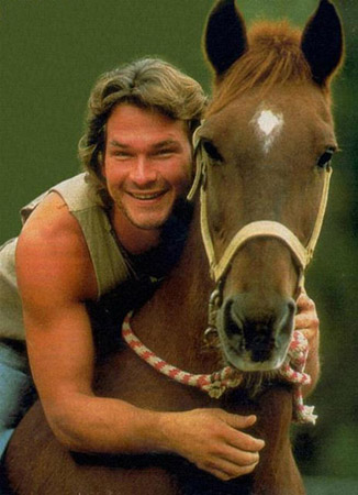 Patrick Swayze on horseback