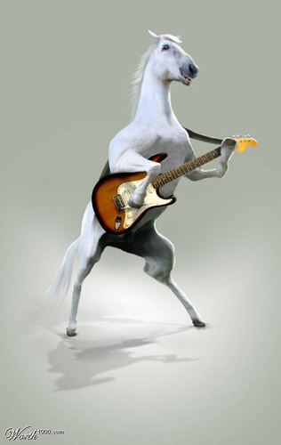 Horse playing guitar Photoshop image