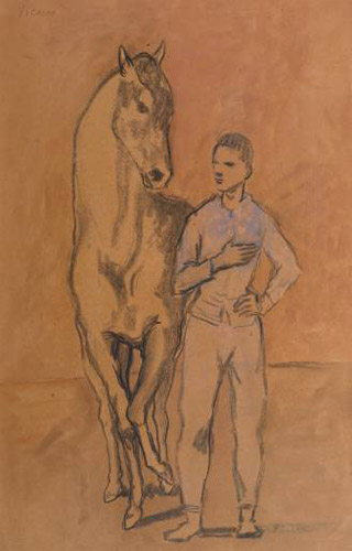 Horse with a Youth in Blue