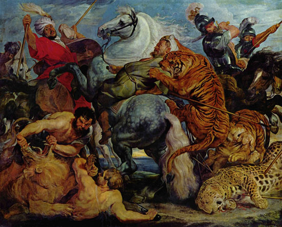 Tiger and lion hunting
