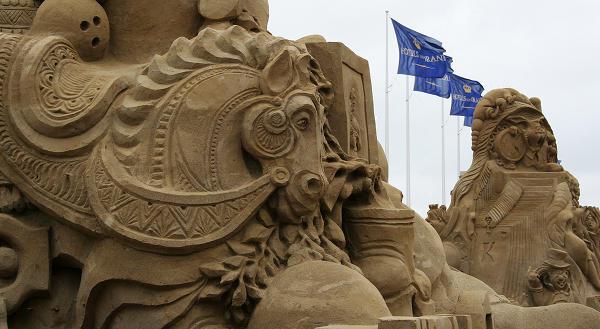 Horse sand sculpture
