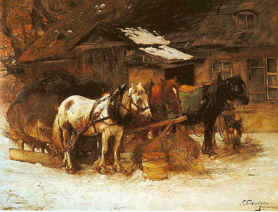 Horse Carriage in Front of the Walke - Friedrich Eckenfelder
