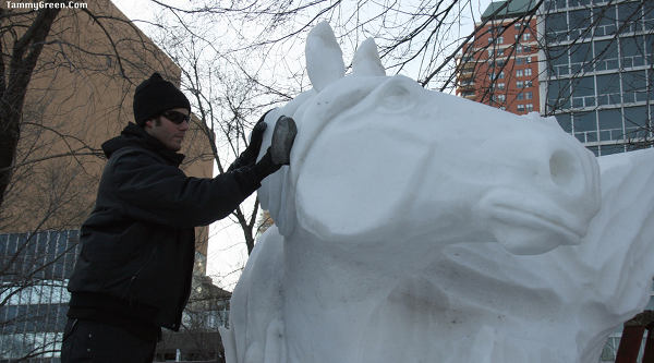Horse snow sculpture