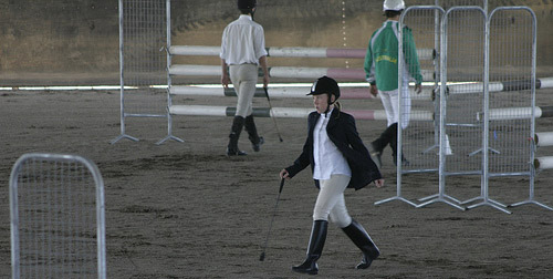 Rider walking the course